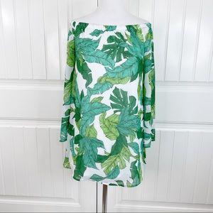 Love, Fire Palm Leaf Print Off Shoulder LS Dress S